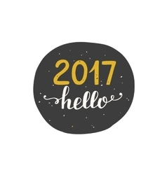 Hello 2017 label sticker isolated on white vector