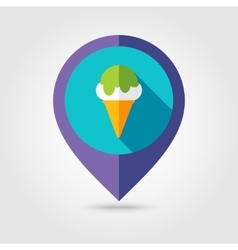 Ice Cream flat mapping pin icon with long shadow vector image vector image