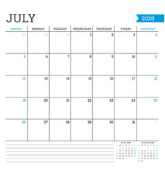July 2020 square monthly calendar planner vector