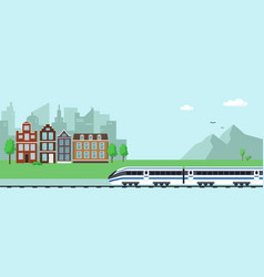 Landscape with mountains train and city vector