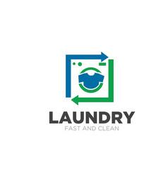 Laundry service logo designs simple modern vector