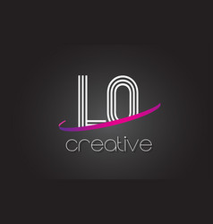 Lo l o letter logo with lines design and purple vector