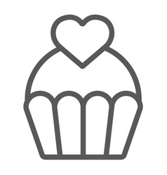 love cake line icon sweet and muffin cupcake vector image