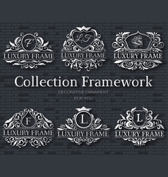 Luxury silver label set with logo ornament vector