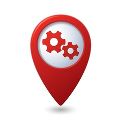 Map pointer with gears icon vector