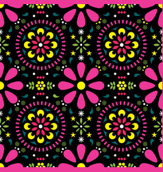 mexican floral seamless pattern - folk art vector image