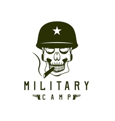 Military camp emblem with smoking skull and guns vector