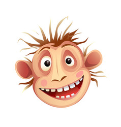 Monkey funny face expression chimp head isolated vector
