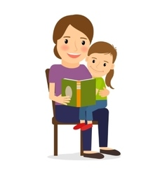 Mother and child reading book vector