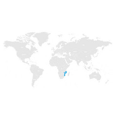 mozambique marked by blue in grey world political vector image