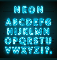 Neon font text blue english lamp alphabet vector