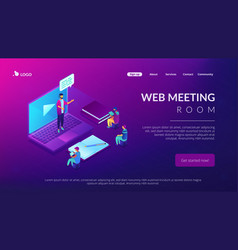 online presentation isometric 3d landing page vector image