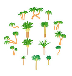 palm icons set cartoon style vector image