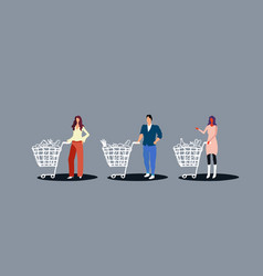 people pushing trolley carts with groceries vector image