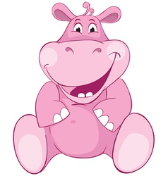 Pink hippopotamus first teeth vector