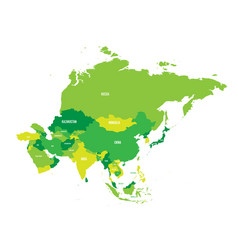 Political map of asia continent in shades of green vector