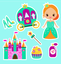 princess stickers for party invitations vector image