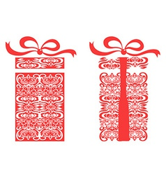 red stylized gift box vector image