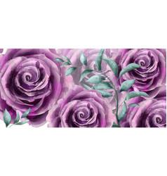 Rose flowers watercolor banner poster vector