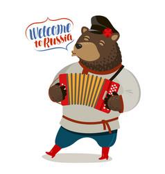 russian fun bear playing accordion welcome vector image