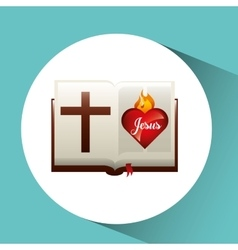 Sacred heart jesus on bible design vector