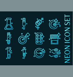 Set artificial insemination glowing neon icon vector