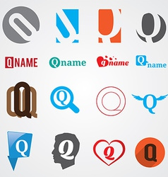 Set of alphabet symbols of letter Q vector image
