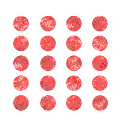 set of red watercolor dots vector image