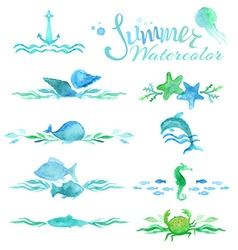 Set of watercolor ocean page decorations and vector