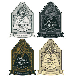set ornate hand-drawn labels for wine vector image