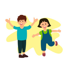 Smiling brother and sister flat characters vector