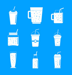 smoothie fruit juice icons set simple style vector image