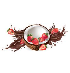 splash liquid chocolate and fresh coconut vector image