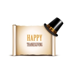 Thanksgiving banner with pilgrim hat vector