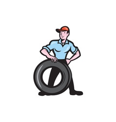 Tireman Mechanic With Tire Cartoon Isolated vector