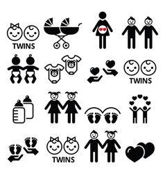 Twin babies icons set - double pram twins vector