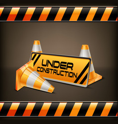 under construction barrier with road cones vector image