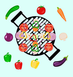 Vegetables summer picnic party outdoor with grill vector