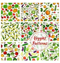 Veggies vegetables seamless patterns set vector image