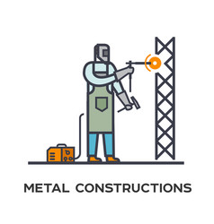 welder makes a metal frame vector image