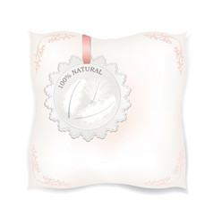 white pillow isolated natural feather sign vector image