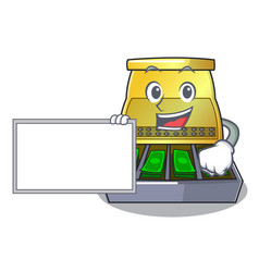 With board electronic cash register isolated on a vector