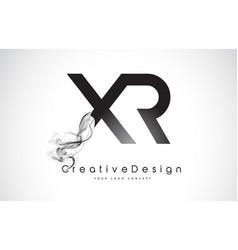 Xr letter logo design with black smoke vector