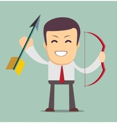 businessman with bow and arrow isolated on vector image