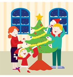 Cheerful Family Christmas vector image vector image