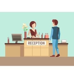 Customer at reception concept in flat vector image