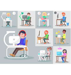 office workers at the workplace flat set vector image vector image