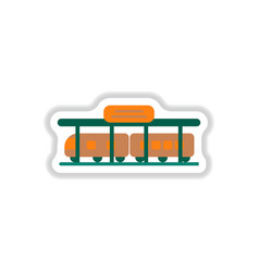 Paper sticker on white background train station vector