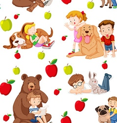 Seamless background with children and pets vector image vector image
