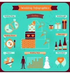 Wedding infographics in retro style vector image